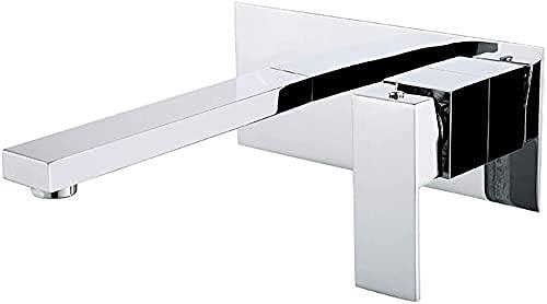 ZDZHT Mezclador de Lavabo Empotrado Cromado de 2 Orificios para baño Grifo de Pared Grifo Monomando Mezclador Grifo de Pared para Lavabo de latón, proyección 18,2 cm