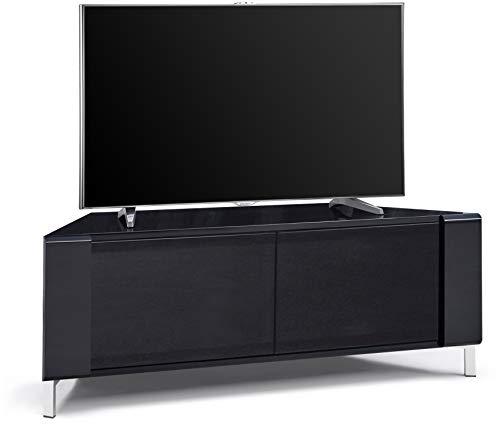 "MDA Designs CORVUS Corner-Friendly Gloss Black Contemporary Cabinet with Black Profiles Black BeamThru Glass Doors Suitable for Flat Screen TVs upto 50"""