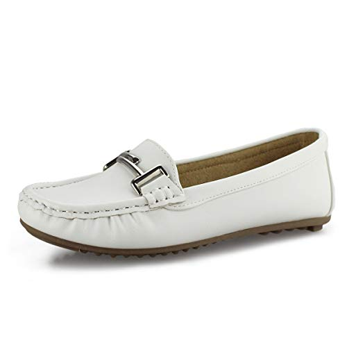 Hawkwell Women's Slip-on Loafers Flat Casual Driving Shoes,White PU,10 M US