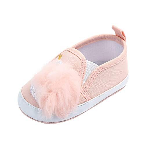 Mitlfuny Niños Primavera Verano Zapatos Primeros Pasos para bebé Niñas Zapato de Lona Bordado de Cisne Antideslizantes Suela de Suaves Bola de Pelo Zapatitos Recién Nacido Zapatillas Niña 0-18 Meses