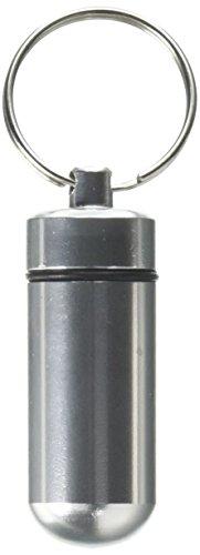 Boîte de Pilule Pilulier en Alliage d'Aluminium Imperméable à l'eau Etanche à l'air avec Porte-clés (d'Argent)