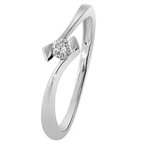 Goldmaid Damen-Ring 18 Karat 750 Weißgold Verlobungsring Solitär 1 Brillant 0,10 ct. Gr. 50 (15.9) So R3925WG75052 Schmuck