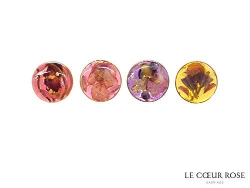 イヤリング 花 花びらなどが封入されたネジバネ式イアリング