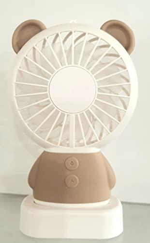 La selección, ventilador de oso beige portátil luminoso recargable USB - LED multicolor 3 velocidades