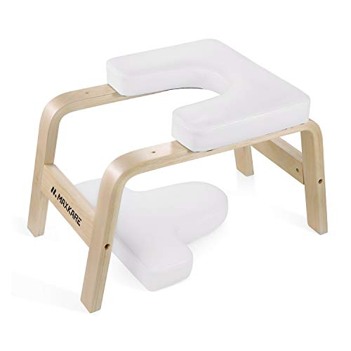 MaxKare Yoga Headstand Bench Wood Stand Yoga Inversion Chair Stool Handstand with PVC Pads for Family, Gym - Relieve Fatigue and Shape The Body (White)