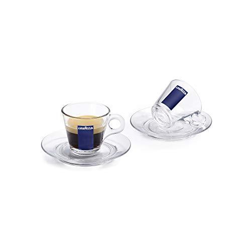 Lavazza Trasparenza Espressotassen und Untertassen aus Glas, transparent, 85 ml, 1 Set - 2 Cups & Saucers