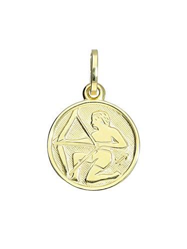 Sternzeichen Anhänger Schütze (Ohne Kette) Gelbgold 333 Gold (8 Karat) Ø 12mm Rund Tierkreiszeichen HoroskopKettenanhänger Zodiac round A-06017-G303-Sch