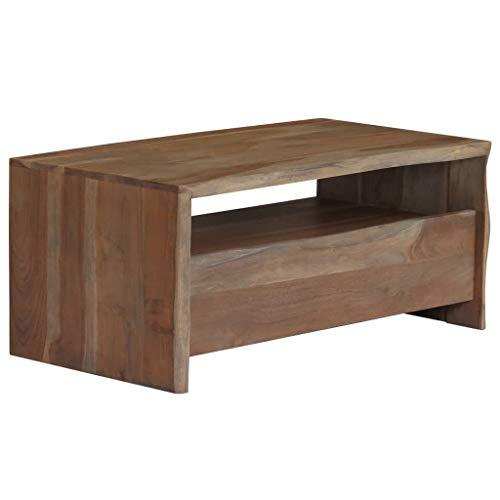 binzhoueushopping Table Basse en Acacia Massif Bord Assorti 90 x 50 x 40 cm Gris Table Basse Design pour Garder Vos Magazines, Livres, télécommandes etc