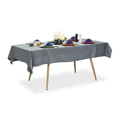 Relaxdays 10022620_786 Nappe hydrofuge résistante eau linge de table jardin polyester sans plis 140x220 cm rectangle, gris, 140 x 220 cm