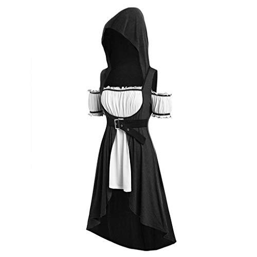 Rosennie Damen Vintage Maxikleid Plus Size Party Kostüm Punk Maxi Retro Kleid Mit Kapuze Mittelalter Renaissance Party Kleider Große Größen Mittelalter Kleidung Cosplay Kleid (L, Schwarz)