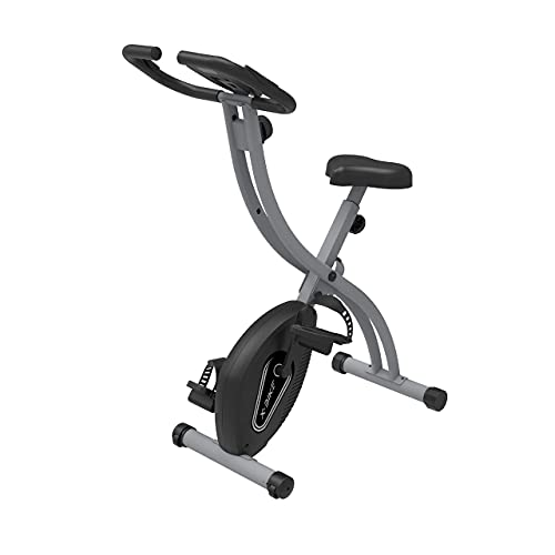 Fit4home Exercise Bike Gym Equipment For Home Workout Indoor Exercise Bikes Foldable Fitness Trainer | LCD Monitor 8 Levels Adjustable Resistance Pulse Sensors | ES892 Black