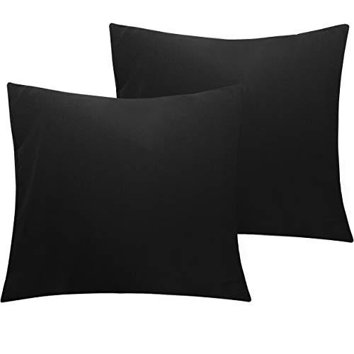 NTBAY 2er Pack Kopfkissenbezüge aus Mikrofaser, Superweicher Premium Kissenbezug mit Reißverschluss, 80x80cm, Schwarz