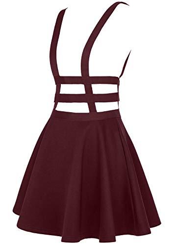 EXCHIC Falda de Cintura Elástica con Pliegues de la Moda A-Line Suspender Brace Falda