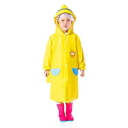 GDSSX Niñas Chicas con Capucha Lluvia Poncho Durable Impermeable Impermeable Niños Impermeable Estudiante Estudiante Ropa de Lluvia Poncho de Emergencia (Color : Yellow, Size : S)