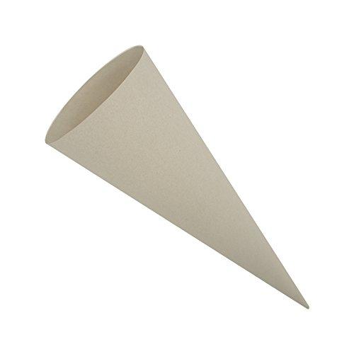 itenga Bastelschultüte 70cm rund Schultütenrohling mit Filzverschluss (Grau ohne Verschluss)