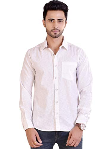 Raymon louis Men's Solid Slim Fit Lenin Casual Shirt, Full Sleeve   Made in India White