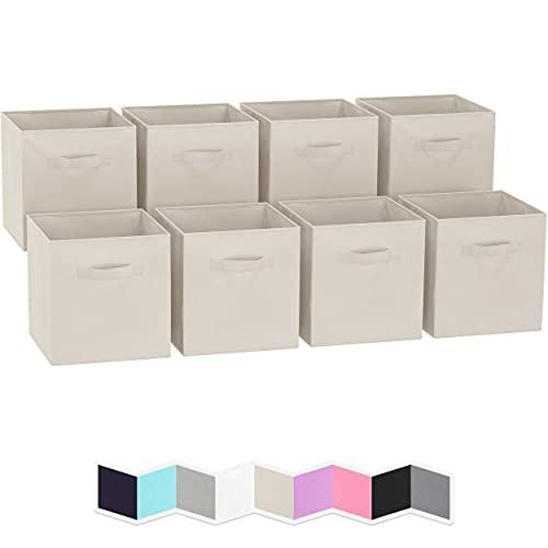 Royexe Storage Cubes - 11 Inch Cube Storage Bins (Set of 8). Fabric Cubby Organizer Baskets with Dual Handles   Foldable Closet Shelf Organization Boxes (Beige)
