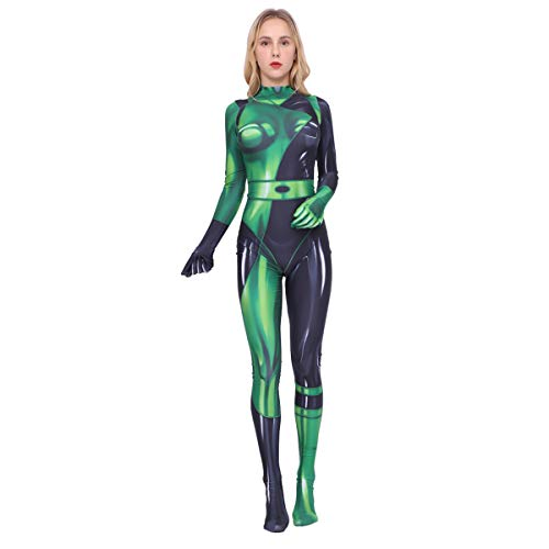Kim Possible Female Shego Costume Super Villain Halloween Lycra Cosplay Shego Costume Body Suit Jumpsuit Adults/Kids