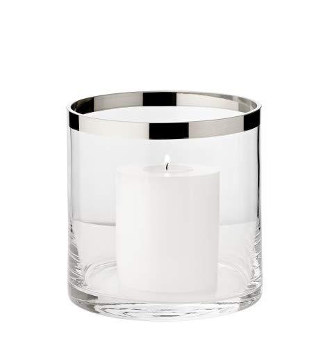 EDZARD Windlicht Molly, Kerzenhalter aus mundgeblasenem Kristallglas mit Platinrand, Höhe 15 cm, Durchmesser 15 cm, plus Dauerkerze Cornelius, Höhe 9 cm, Durchmesser 8 cm