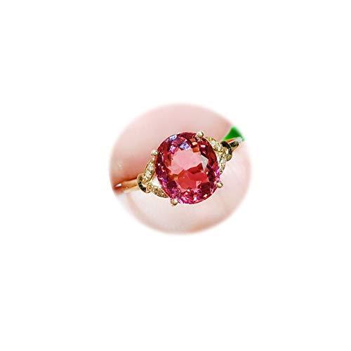 Daesar Anillo Oro Mujer 18 Kilates Oro Rosa Oval Turmalina Rosa Talla 21
