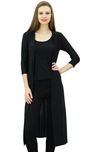 Bimba Frauen Lycra Soft Drape Lange Zucken Cardigan 3/4 Hülsen beiläufige Longline Coverup