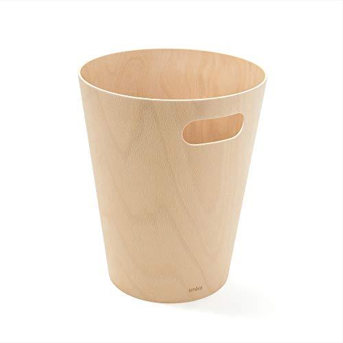 Umbra Woodrow Abfalleimer – Zweifarbiger Holz Papierkorb für Büro, Badezimmer, Wohnzimmer und Mehr, 7,5l Fassungsvermögen, Natur,