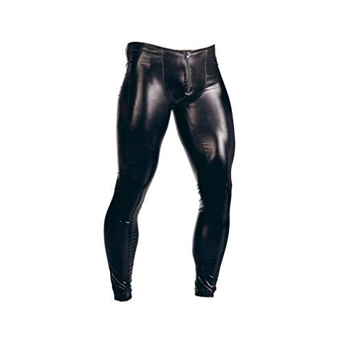 Milisten Pantaloni in Pelle da Uomo Pantaloni con Cerniera Sexy Pantaloni Lunghi Night Club Costume Attillato Slim Club per Uomo -M (Nero)