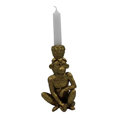 Housevitamin kandelaar 'aap & ananas' - kaarsenhouder/kaarsenstandaard goud - 18cm hoog