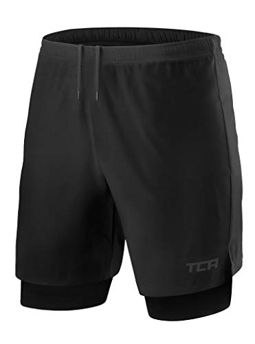 TCA Mens Ultra 2 in 1 Running Shorts with Inner Compression Short and Zip Pocket - Black/Black, XL