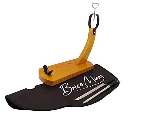 Jamonero económico modelo Huelva, Regalo cuchillo, chaira y cubrejamón negro, Jamonero modelo Góndola ideal para uso doméstico