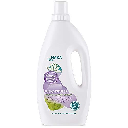 HAKA Weichspüler I Weißer Lotus & Gingko I 1 Liter I Umweltfreundlicher Weichspüler als Ultra Konzentrat I Ohne Farbstoffe I Sehr Gut Hautverträglich