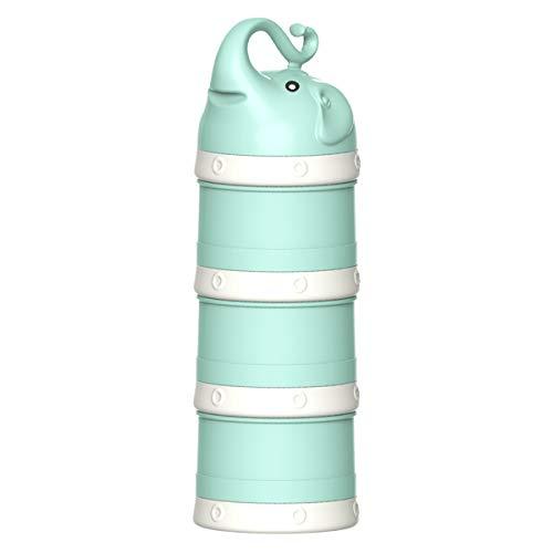 OZCOWBABY Doseurs Bébé Boîte alimentaire Distributeur de lait en Poudre Empilable 3 compartiments Réservoir de Stockage de Casse-croûte Convient pour les voyages en plein air Vert