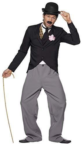 Smiffy's - Disfraz de Estrella de los años 20, con Chaqueta, Pantalones, Chaleco postizo y Corbata Charleston, Color Negro, L 33830L