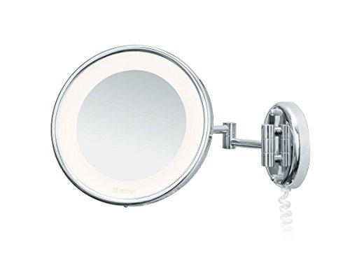 Nicol 4024200 JENNY Kosmetikspiegel mit LED-Beleuchtung, Wandspiegel 5-fach Vergrößerung