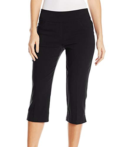 Ruby Rd. Women's Petite Pull-On Super Stretch Solar Millennium Tech Cropped Capri, Black, 22W