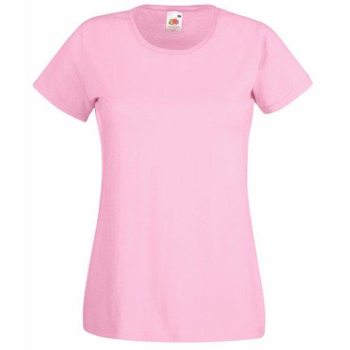 Camiseta de Fruit of the Loom para mujer, ajustada, de distintos colores, de algodón, manga corta Rosa rosa claro Large