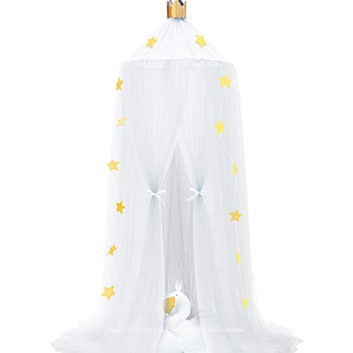 Dix-Rainbow Bed Canopy Yarn Play Tent Bedding for Kids Playing Reading with Children Round Lace Dome Netting Curtains Baby Boys and Girls Games House - White