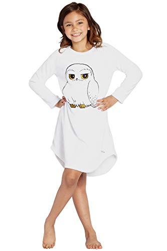 Harry Potter Pyjama Girls' Hedwig Eule Micro Raschel Fleece Hi-Lo-Nachthemd Kostüm (L, 10/12)
