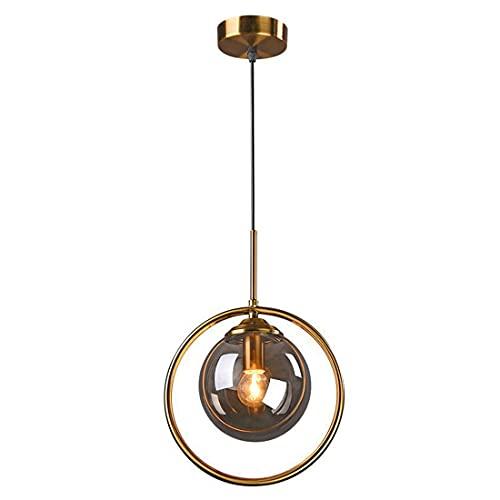 Aozu Glass Globe Lámparas Colgantes de Techo 1 luz, Dorado Vintage 1 Cabeza Isla de Cocina iluminación Colgante lámpara de araña de Metal con Pantalla de Vidrio ámbar para Comedor Barra de Granja