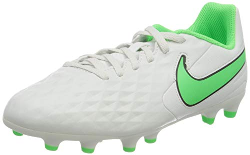 NIKE Jr Legend 8 Club Fg/Mg Soccer Shoe, Platinum Tint Rage Green Black, 2.5 UK