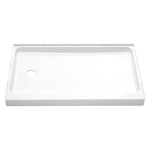 STERLING 72171110-0 60-Inch Shower Base Vikrell Left Drain, White