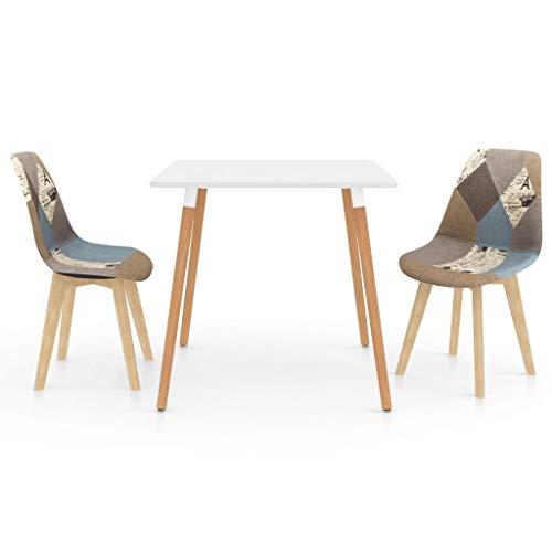 vidaXL Juego de Comedor 3 Piezas Mobiliario Muebles Exterior Hogar Cocina Terraza Silla Mesa Asiento Suave Decoración Moderno con Respaldo Gris