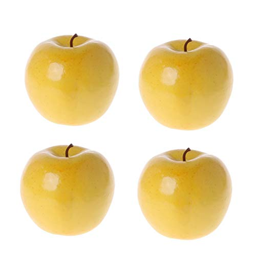 ForHe 4Pcs Realistic Lifelike Artificial Fruit Apples Bright Yellow Color Kitchen Fake Display Food Decor Craft
