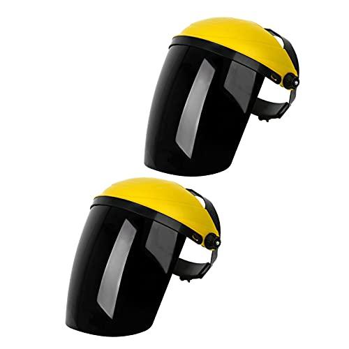 Harilla Protección facial Casco Confort ajustable Visera ancha montada en la cabeza Casco de soldadura universal Reutilizable - amarillo top negro