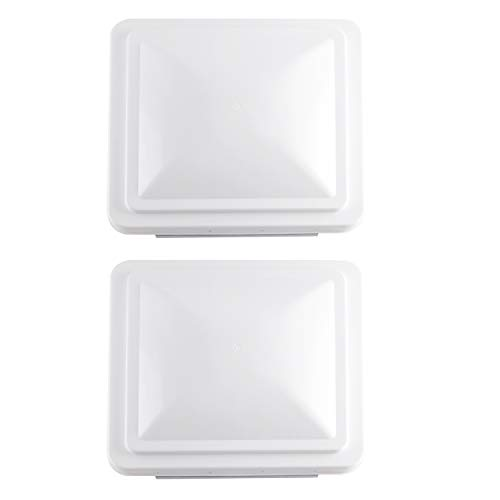 "RVGUARD 14"" RV Roof Vent Cover White Universal Replacement Vent Lid for Camper Trailer Motorhome (2 Pack White)"