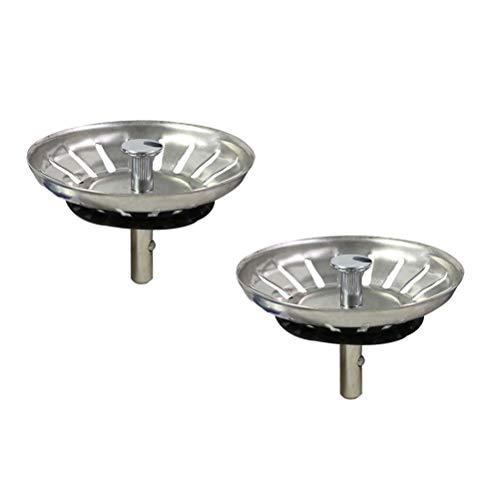 BESTONZON 2 PZ Tappo per lavabo foro colino,Lavello da cucina Coperchio del filtro Spazzatura Tappo di scarico Filtro(Argento)