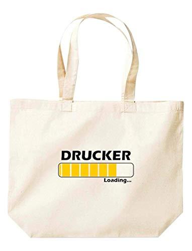 Shirtinstyle Stoffbeutel Jute, Loading DRUCKER, Ausbildung Abschluss Job Kollegen, Spruch Sprüche extra große Tasche, Farbe Natur