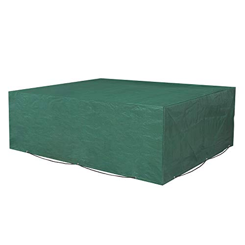 SONGMICS Schutzhülle für Gartenmöbel, 200 x 160 x 70 cm, Abdeckeplane für Tisch und Stühle, Outdoor, wasserdicht, rechteckig, Grün GFC91L