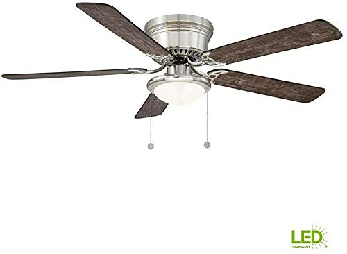 Hugger 56 in. LED Indoor Brushed Nickel Ceiling Fan with Light Kit Pull Chain