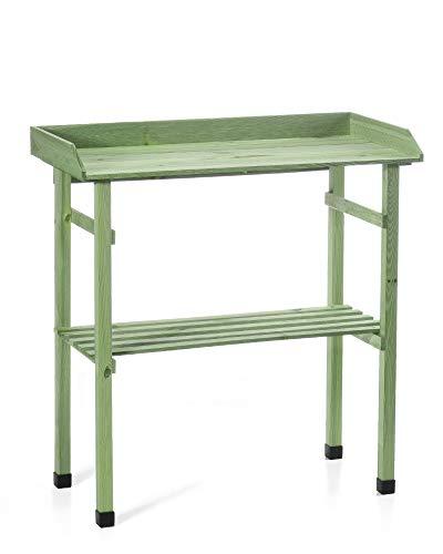 myGardenlust Pflanztisch für Garten Balkon und Terrasse - Gartentisch rechteckig aus Kiefern Holz - Pflanzentisch 80 x 40 x 83,5 cm -Grün imprägniert